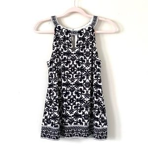 WHBM | Black + White Pattern Halter Top